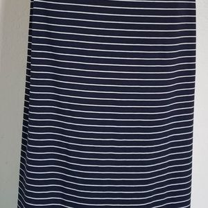 THE LIMITED Navy White Striped Long Strip Skirt S